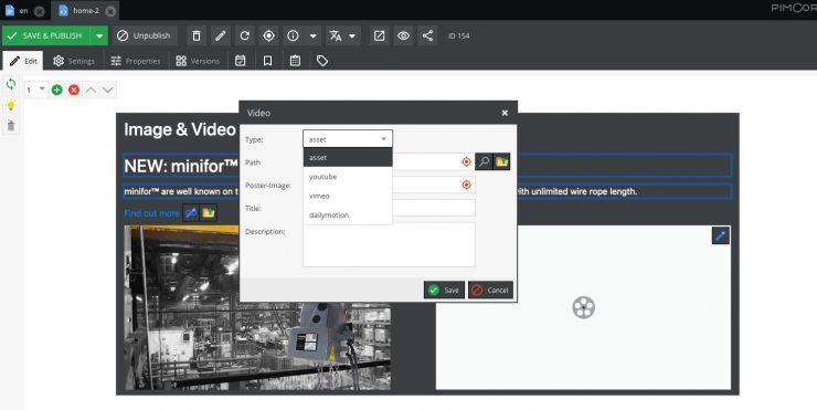Pimcore video assets